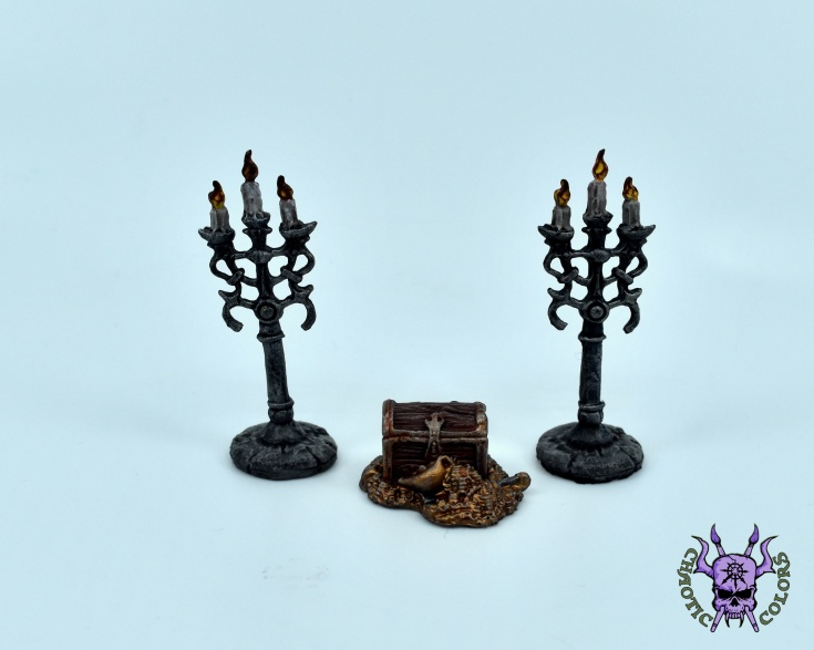 Treasure Pile & Candleabra (by Reaper Miniatures) (2)